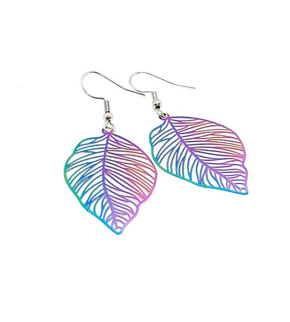 Leaf Earrings / Multi Colour Filigree Leaf Earrings