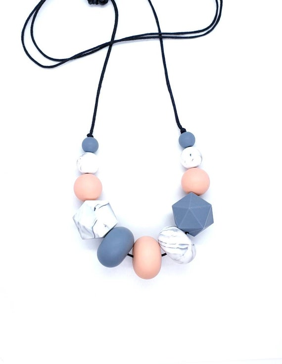 Peach and Grey Silicone Bead Necklace / Geometric Necklace