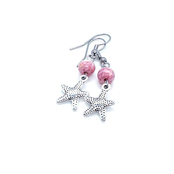 Starfish Earrings / Star Earrings / Pink Earrings