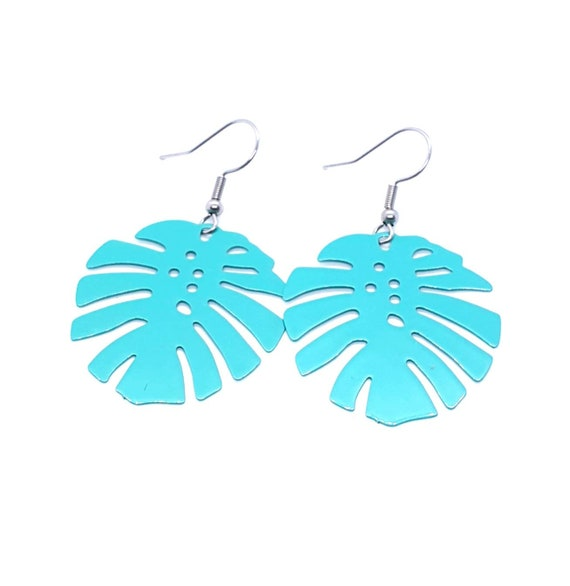 Turquoise Monstera Earrings / Leaf Earrings