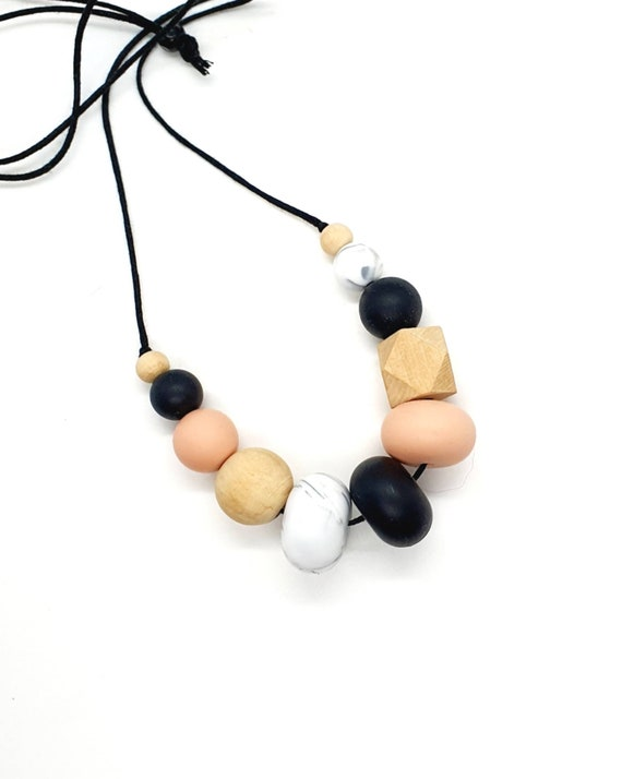 Mix Media Necklace / Peach Black Marble Silicone and Wood Bead Necklace