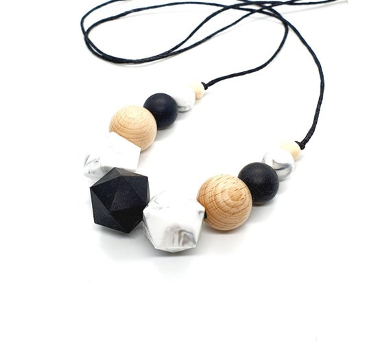 Black White Silicone Bead Necklace / Silicone Wood Bead Necklace