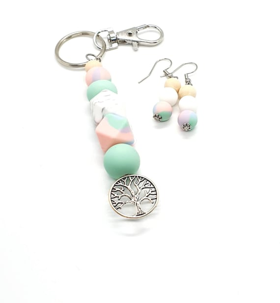 Tree of Life Keyring and Earrings / Boho Earrings / Silicone Key ring