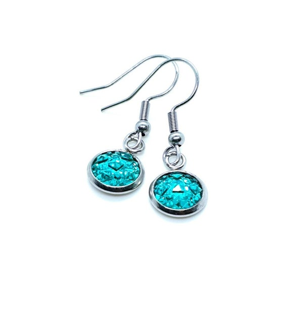 Turquoise Sparkly Drop Earrings / Blue Druzy Earrings