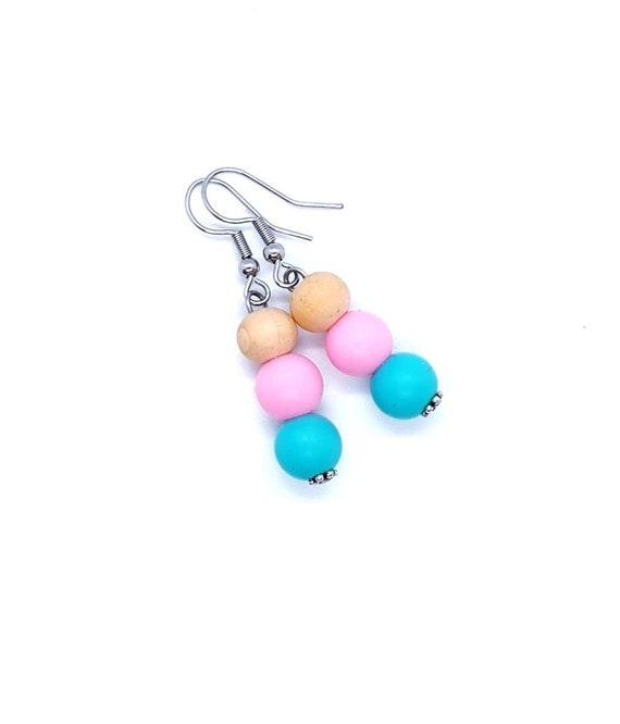 Pink Turquoise Wood Bead Earrings / Drop Earrings