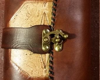 Handmade leather steampunk journal
