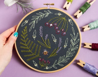 Black Wildwood Embroidery Kit - Embroidery Kit for Beginners