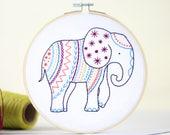 Elephant Embroidery Kit, Embroidery Design, Nursery Decor, Hand Embroidery, Hoop Art, DIY Kit, Modern Embroidery, Adult Craft Kit