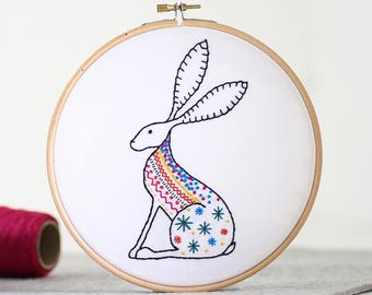 Hare Embroidery Kit - Embroidery Design - Nursery Decor - Hand Embroidery - Hoop Art - DIY Kit - Modern Embroidery - Adult Craft Kit