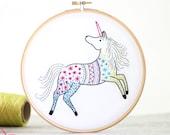 Unicorn Embroidery Kit, Embroidery Design, Nursery Decor, Hand Embroidery, Hoop Art, DIY Kit, Modern Embroidery, Adult Craft Kit