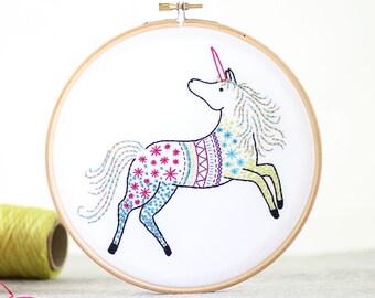 Unicorn Embroidery Kit - Embroidery Design - Nursery Decor - Hand Embroidery - Hoop Art - DIY Kit - Modern Embroidery - Adult Craft Kit