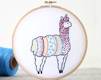 Alpaca Embroidery Kit - Embroidery Design - Nursery Decor - Hand Embroidery - Hoop Art - DIY Kit - Modern Embroidery - Adult Craft Kit