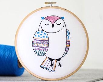 Owl Embroidery Kit - Embroidery Design - Nursery Decor - Hand Embroidery - Hoop Art - DIY Kit - Modern Embroidery - Adult Craft Kit