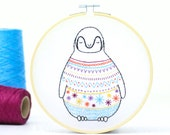 Baby Penguin Embroidery Kit, Embroidery Design, Nursery Decor, Hand Embroidery, Hoop Art, DIY Kit, Modern Embroidery, Adult Craft Kit