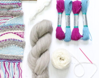 Weaving Kit - Sky Blue & Fuchsia (+ optional Pop-Up Loom)