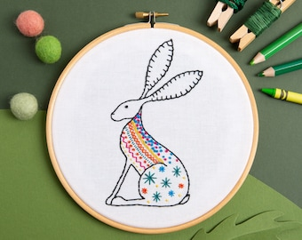 Hare Embroidery Kit - Craft Kit for Beginners