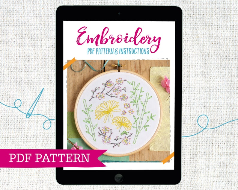 Instant Download Japanese Garden PDF Embroidery Pattern