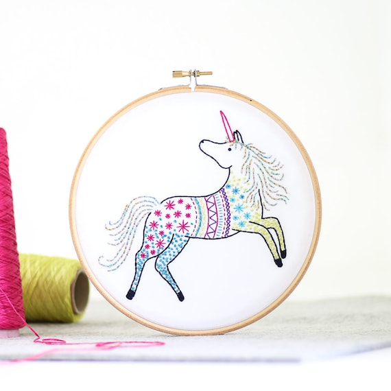 Unicorn embroidery kit from Hawthorn Handmade