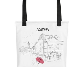 Tote bag London Hand Drawn illustration