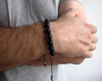 Mens bracelet , Onyx bracelet , Beaded bracelet , Black onyx bracelet , Onyx men , Healing bracelet , For him , Shamballa , Mens gift