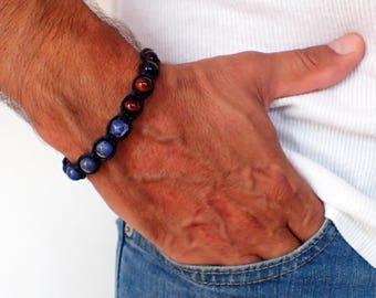 Mens bracelet , Tiger Eye bracelet , Sodalite bracelet , Healing bracelet , Boyfriend gift, Tiger eye men , Mens gift , For men