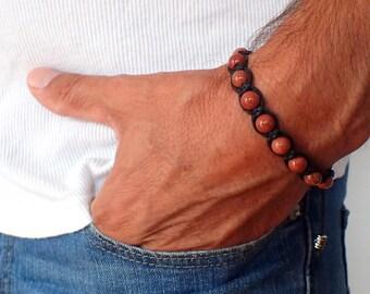 Mens bracelet , Sunstone bracelet , Boyfriend gift , Beaded bracelet , For men , Healing bracelet , Mens gift , Sunstone men