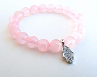 Rose Quartz bracelet , fertility bracelet, Hamsa bracelet, Protection bracelet. Healing bracelet woman , rose quartz woman