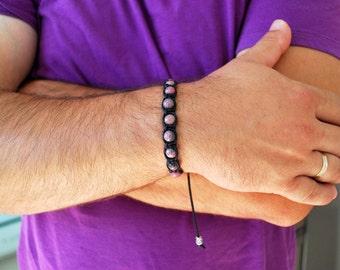 Mens bracelet , Rhodonite bracelet , Beaded bracelet , Boyfriend gift , For men, Healing bracelet , For him , Mens gift , Boho bracelet
