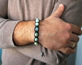 Mens bracelet , Amazonite Bracelet , Beaded bracelet , For him , Boyfriend gift , For men , Healing bracelet