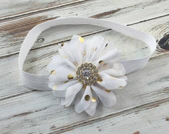White and Gold headband, white headband, White Flower Girl Headband, Gold Headband, White Birthday Headband, White and Gold Flower headband