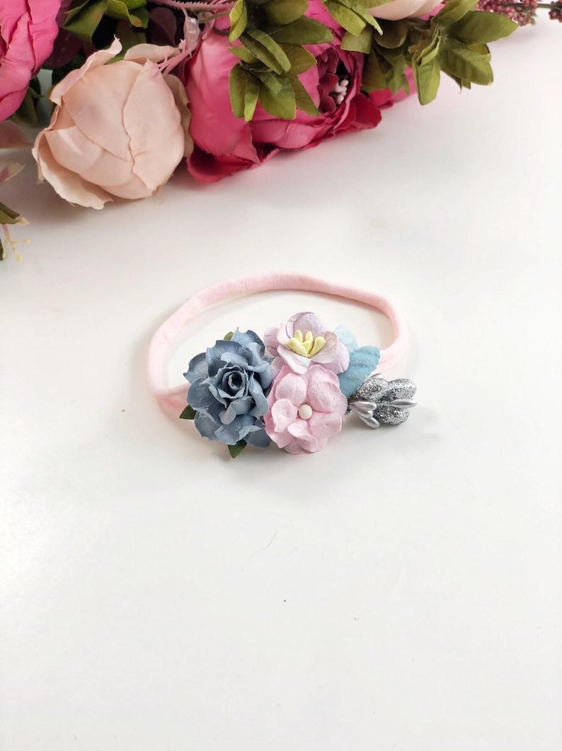 Blue lavender Headband dainty headband petite headband Newborn headband Lavender and Pink Headband newborn photo prop pink headband