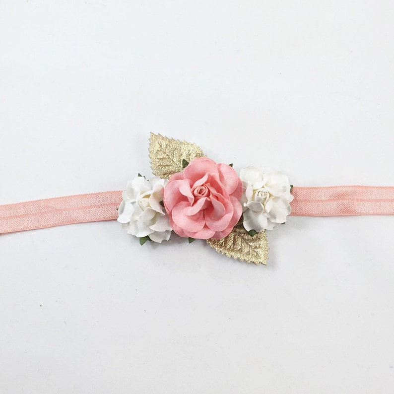 Mommy and Me Flower Headband Mommy and Me headband navy headband coral flower girl headband coral and navy Headband coral Headband