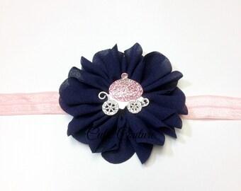 Baby Headband, Navy Headband, Princess Headband, newborn Headband, pink headband, navy and pink headband, infant headband, proncess clip