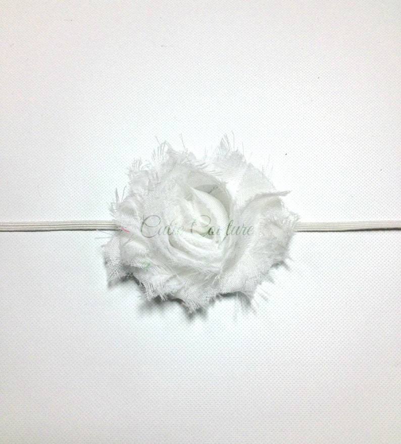White Headband white flower headband white clip Shabby Headband White Shabby Headband white baby headband white birthday headband