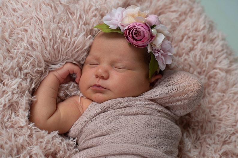 pink newborn photo prop Pink  Headband Couture Headband Pink Newborn headband pink flower girl headband pink flower headband