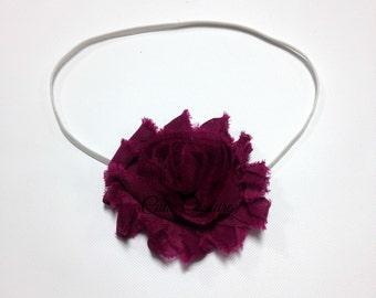 Plum Shabby Headband, Plum Headband, Shabby Headband, Purple Headband, plum birthday headband, plum flower girl headband, plum flower clip
