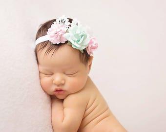 Mint and pink lace Headband, mint Headband, Pink Headband, Pink Flower girl headband, Pink birthday headband, Mint Flower Headband