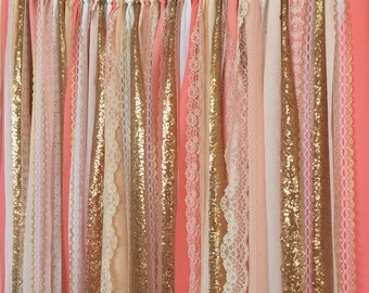 Coral Peach Gold Sparkle Sequin Garland Curtain With Lace