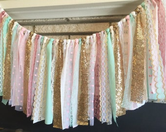 Mint, Pink & Gold sequin garland banner - photo prop, cake smash, backdrop, curtain valance