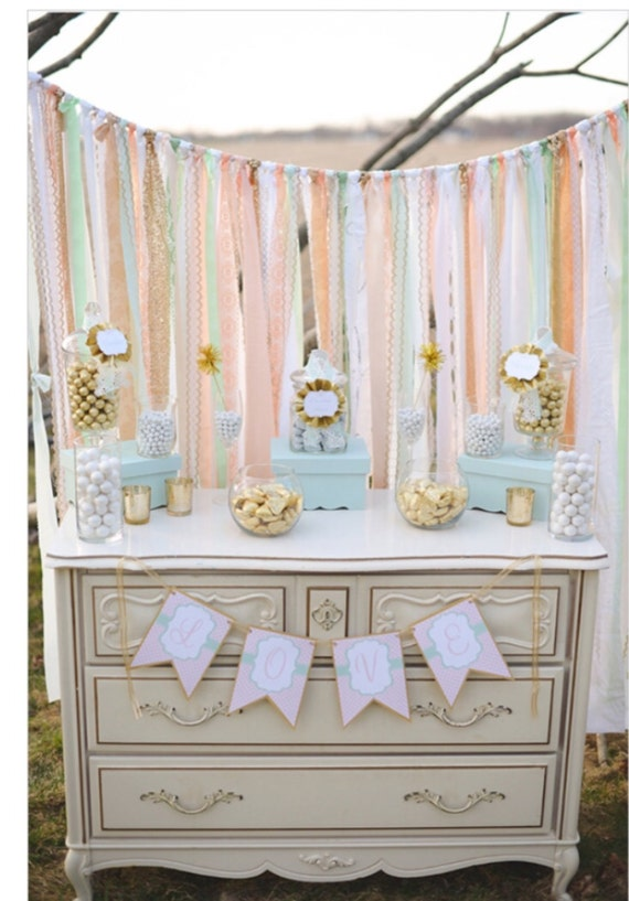 Wedding Backdrop - Peach Mint with Gold Sparkle Sequin Fabric, Lace, Ribbon - Wedding Garland, Dessert Table, Curtain, Baby Shower