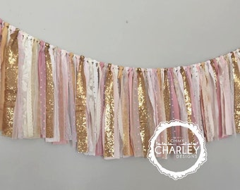 Pink & Gold sequin garland banner - photo prop, cake smash, backdrop, curtain valance