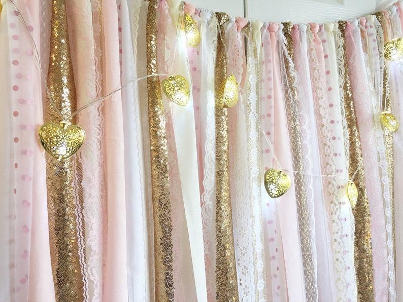 Rosa Cipria Con Oro Paillettes Tessuto Garland Sfondo Etsy