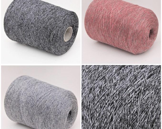 Alpaca/silk/cotton lace weight yarn on cone, knitting yarn, weaving yarn, crochet thread