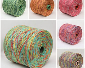 Cotton/linen yarn on cone, space dyed yarn for knitting, weaving and crochet, per 100g