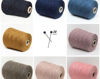 100% cashmere yarn on cone, soft tweed yarn, italian lace weight yarn for knitting, weaving and crochet, per 100g