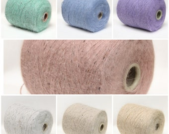 Angora rabbit yarn on cone, fingering/sock weight yarn for knitting, weaving and crochet