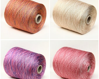 Silk/linen variegated lace weight yarn on cone, knitting yarn, weaving yarn, crochet thread