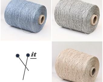 100% linen yarn on cone, italian linen yarn, sport weight yarn for knitting, weaving and crochet, per 100g