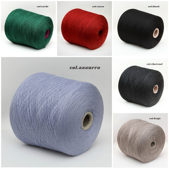 100% wool merino yarn on cone, 2/26Nm, lace weight yarn for knitting, weaving and crochet, per 100g