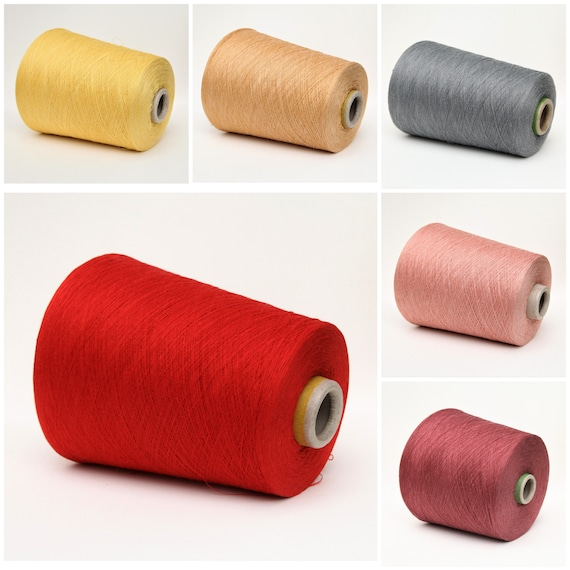 Linen/silk yarn on cone, lace weight yarn for knitting, weaving and crochet, per 100g